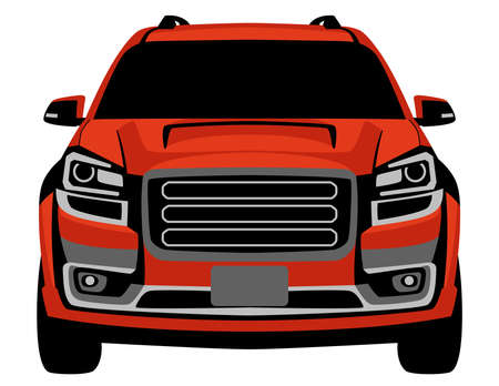 red crossover off road truck, vector illustration, front view, flat style 일러스트
