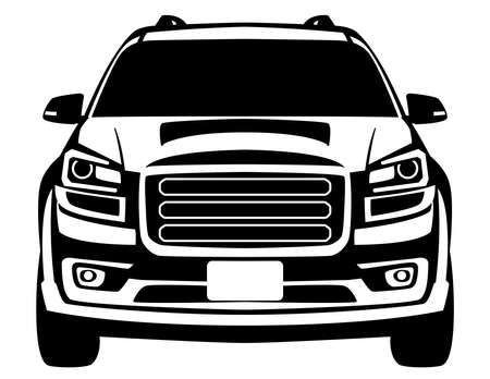crossover off road truck, vector illustration, front view, flat style