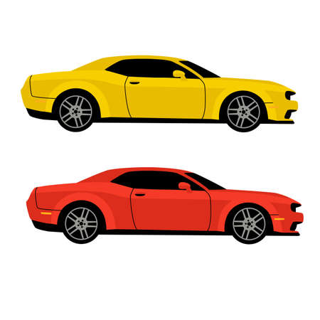 red and yellow sport car, vector illustration, flat style, profile view