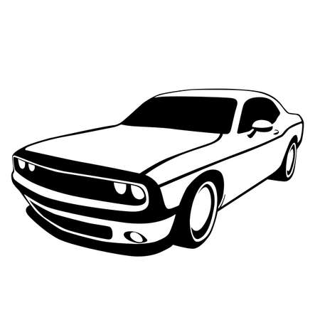 sport car, vector illustration, lining draw, profile view