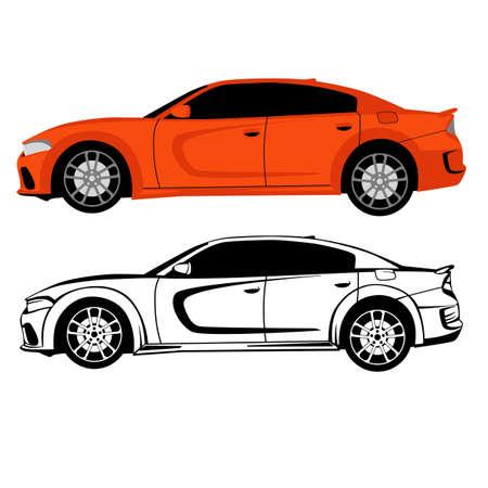 sport race car, vector illustration, flat style, lining draw, side 일러스트