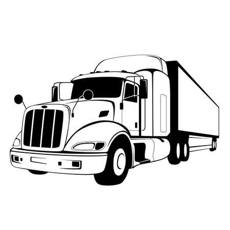 semi truck, vector illustration, flat style, front view 일러스트
