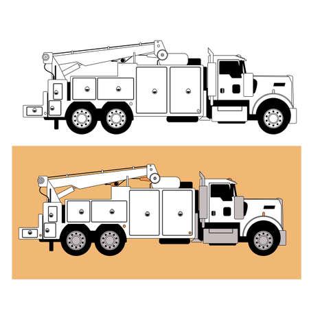 mobile truck repair service. vector illustration