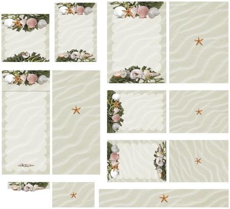 Beach sand sea shells, starfish, and seaweed wedding invitation set1