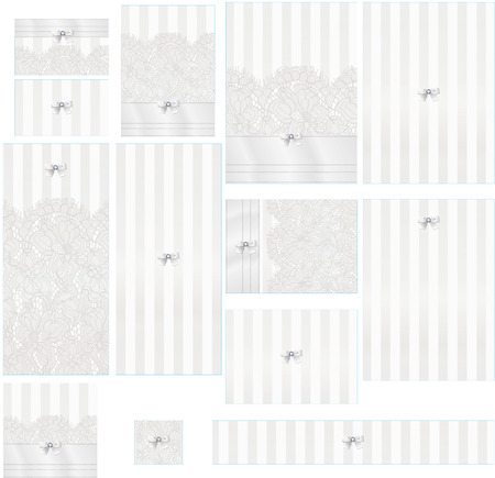 white satin: White satin and lace graphic illustration wedding suite