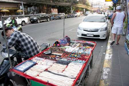 merchant: Merchant decorations on the street in Pattaya