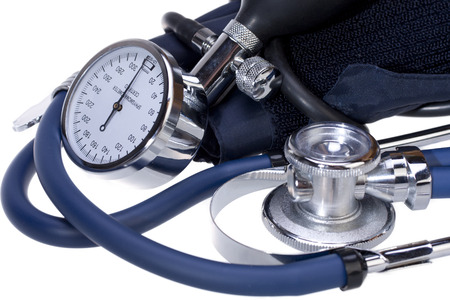 blood pressure bulb: Blood pressure monitor and stethoscope Stock Photo