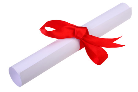 Diploma, close up of paper scroll with red ribbon isolated on white background Foto de archivo