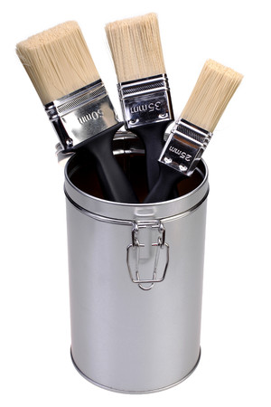 paint box: Paint brushes and paint box Stock Photo
