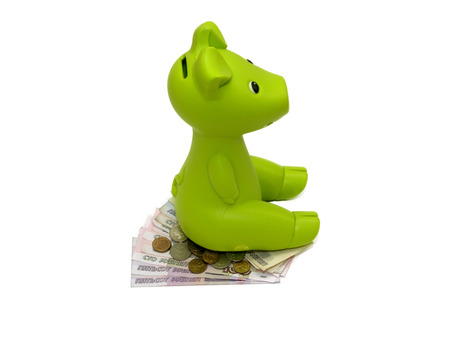 money box: Green piggy bank or money box  isolated on white with Clipping Path