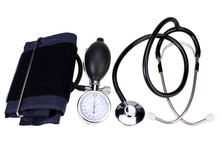 Blood pressure monitor and stethoscope  isolated on white with Clipping Path
