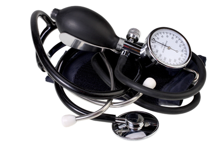 blood pressure bulb: Blood pressure monitor and stethoscope  isolated on white with Clipping Path