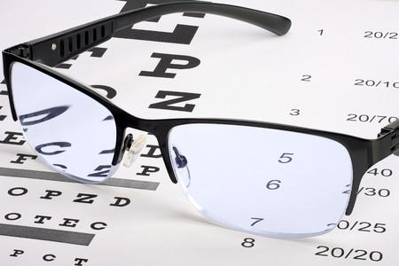 examen de la vista: Gafas en gráfico de prueba de visión