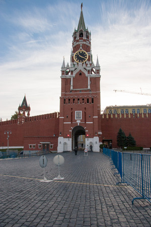 spasskaya: Spasskaya Tower of the Kremlin. Moscow, Russia - October 29, 2015: Moscow Kremlin and Red Square.