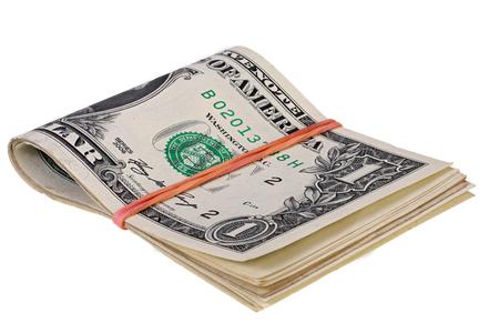 dollaro: pila di dollari con elastico isolato su bianco con Clipping Path