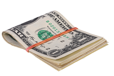 heap of dollar: stack of dollars with elastic band isolated on white with Clipping Path