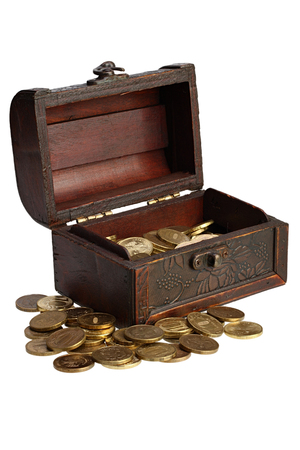booty pirate: Old wooden chest with coins of the yellow metal on white background with Clipping Path