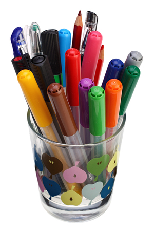 Color ballpoint pens in a glass on white background with Clipping Path Reklamní fotografie