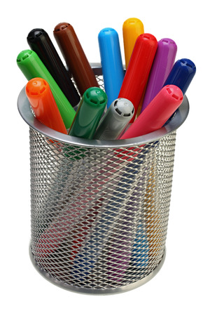 Group of color felt-tipped pens in a glass on white background with Clipping Path Reklamní fotografie