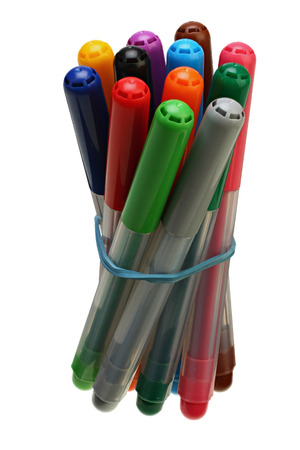 Group of color felt-tipped pens on white background with Clipping Path Reklamní fotografie