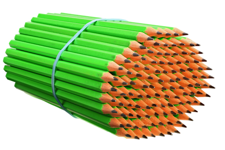 Bundle pencils tied with an elastic band on white background with Clipping Path Reklamní fotografie