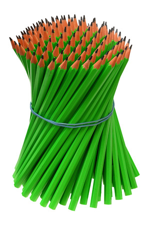 elastic band: Bundle pencils tied with an elastic band on white background with Clipping Path Stock Photo