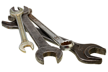 Adjustable wrenches, spanners on white background with Clipping Path