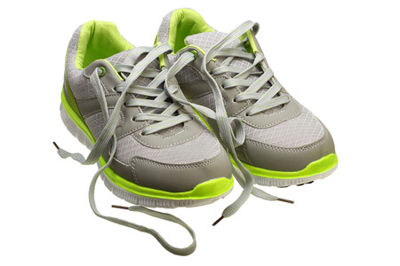 Classic womens sneakers on white background with Clipping Path