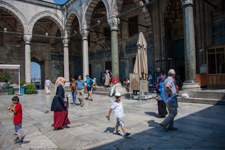 eminonu: Istanbul, Turkey, - April 15, 2016: Courtyard of a mosque in Istanbul Eminonu. Image with GPS tags.