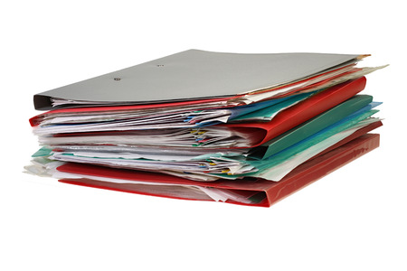 Stack of hanging file folders on white background with Clipping Path. Reklamní fotografie