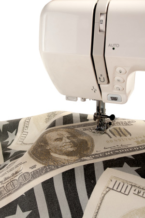 Sewing machine foot and fabric with dollar print