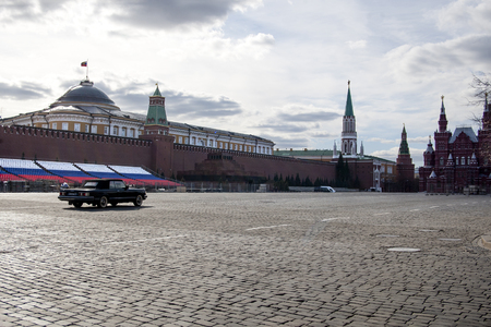 Moscow, Russia, - April 20, 2017: Preparation for Victory Day Parade on Red Square. Image with GPS tags. Redakční