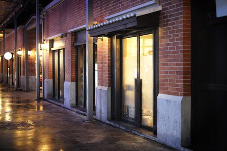 illuminated: Shops and illuminated street Stock Photo