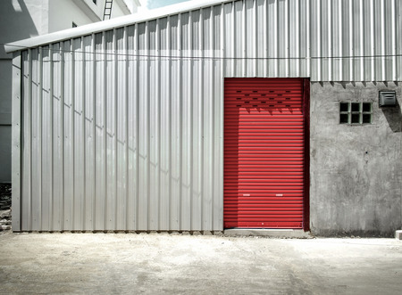 shutter door: Shutter door or rolling door red color,