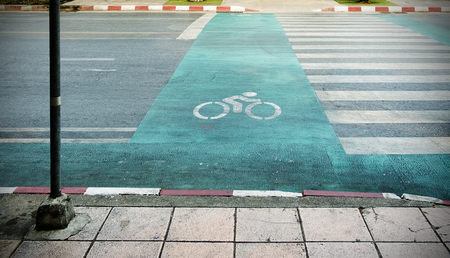double lane: Bicycle road sign on the road. Stock Photo