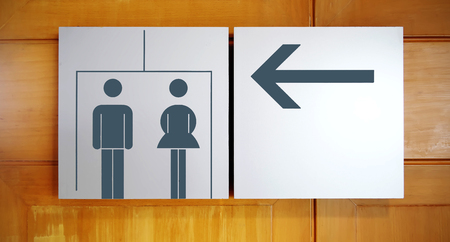unisex: Unisex restroom or toilet and arrow sign