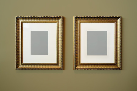 rectangulo: Golden Picture Frame and wall texture photo