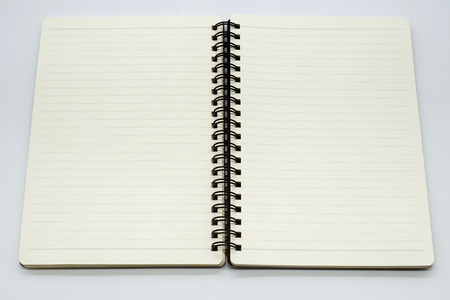 open blank page notebook and white background stock photo picture