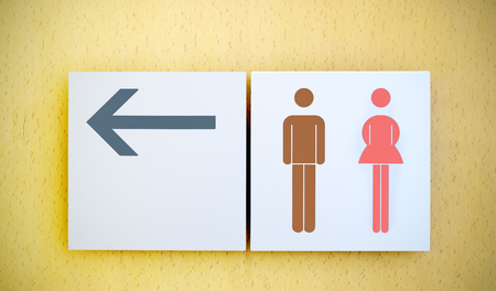 loo: Unisex restroom or toilet and arrow sign