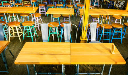chairs at cafe and restaurant background