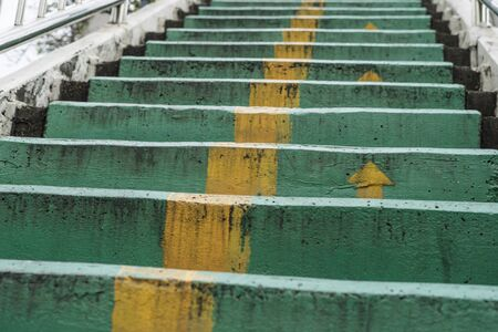 overpass concrete staircase with metal hand rail Banco de Imagens
