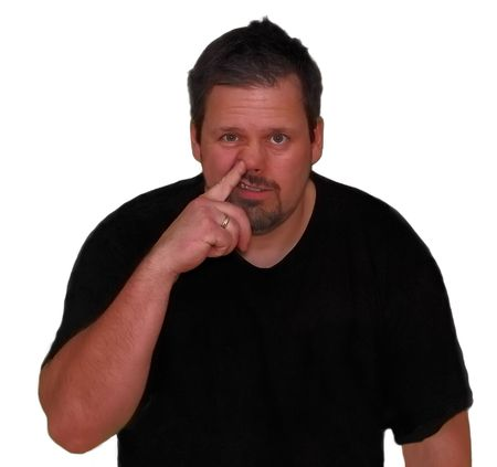 revolting: A person picking his nose with right index finger