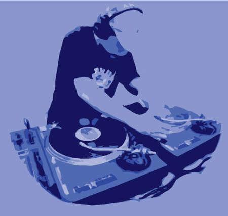spinning: Dj Spinning Record  Illustration
