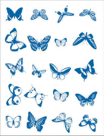 Diverse Butterfly Clip Art Stock Illustratie