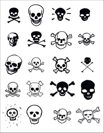 Various graphic design images of skulls for use as clip art or for print and web projects.  矢量图像