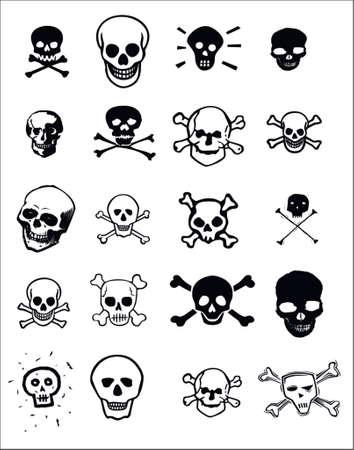 totenk�pfe: Verschiedene Grafik-Design Bilder von Sch�deln f�r die Verwendung als ClipArt oder f�r Print-und Web-Projekten.  Illustration