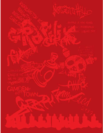 tagging: Classic urban environment design featuring text, skulls and spray paint. Great for print and web backgrounds and templates.