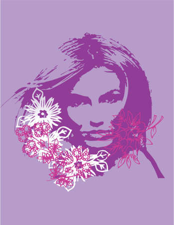 babe: Vector created woman with flower montage for use in poster art, web and print design and for backgrounds or templates.