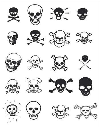 vector images: Various graphic design images of skulls for use as clip art or for print and web projects.  Stock Photo