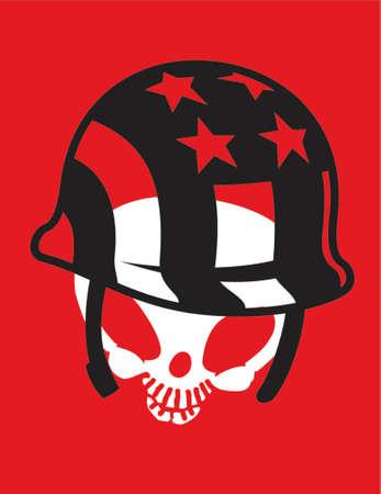 Skull with helmet Иллюстрация